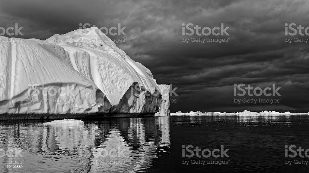 Iceberg Clearing Strom Greenland Ilulissat stock photo
