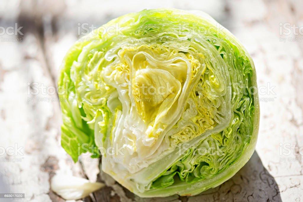 Iceberg lettuce half stock photo
