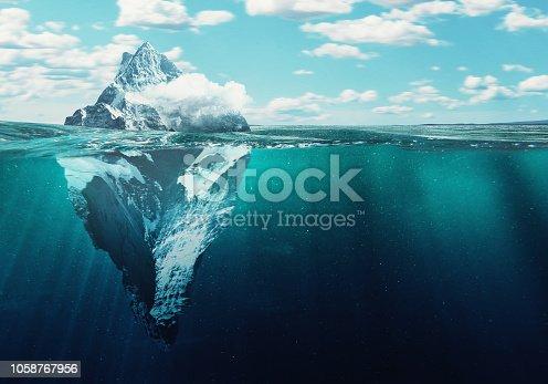 Iceberg, 3d illustration concept