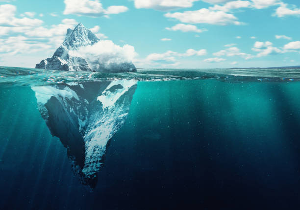 Iceberg Iceberg, 3d illustration concept underwater stock pictures, royalty-free photos & images