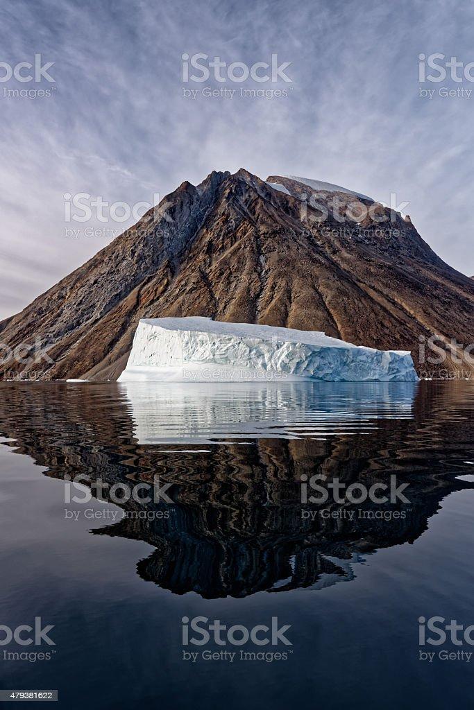 Iceberg Reflection Greenland Frederiksdal stock photo