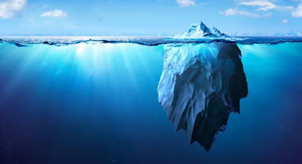 Iceberg - Underwater Danger - Global Warming Concept - 3d Rendering stock photo
