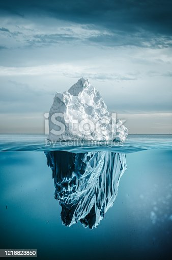 iceberg with above and underwater