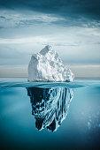 iceberg with above and underwater