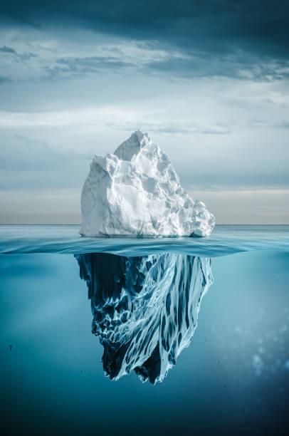 iceberg with above and underwater - iceberg imagens e fotografias de stock