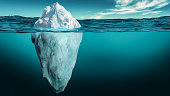 istock Iceberg with its visible and underwater or submerged parts floating in the ocean. 3D rendering illustration. 1264160353