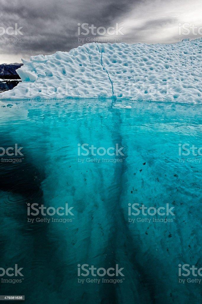 Iceberg with Submerged Crack Greenland Nigerdlikasik stock photo