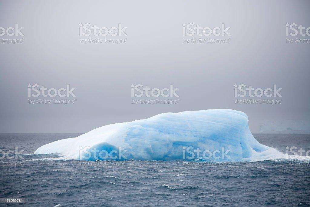 Iceberg with Tiny Penguins royalty-free stock photo