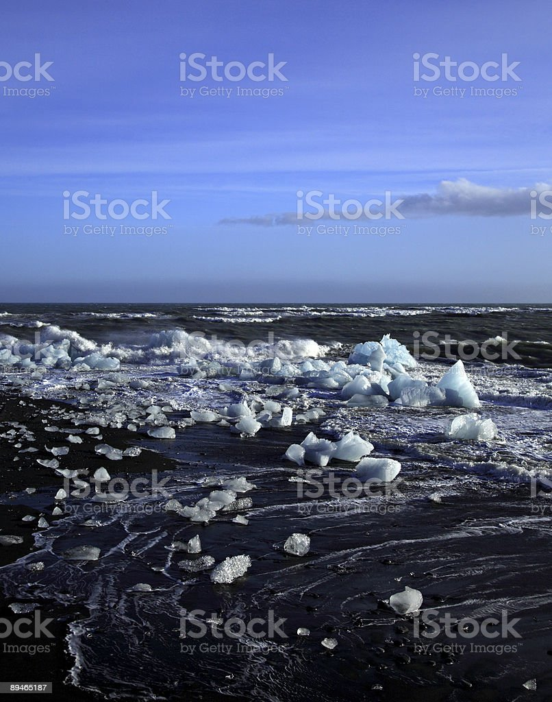 Icebergs and rough sea royalty-free stock photo