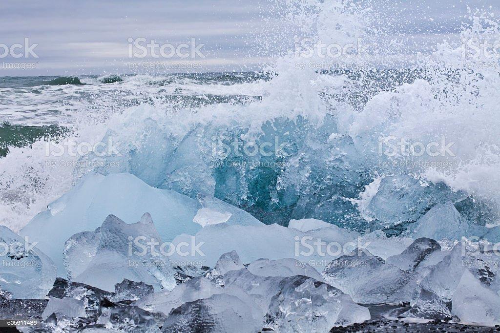 Icebergs at the Glacier lagoon of Jökulsarlon, Iceland stock photo