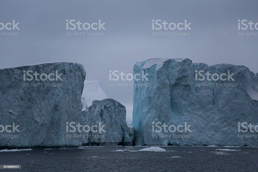 Icebergs colliding stock photo