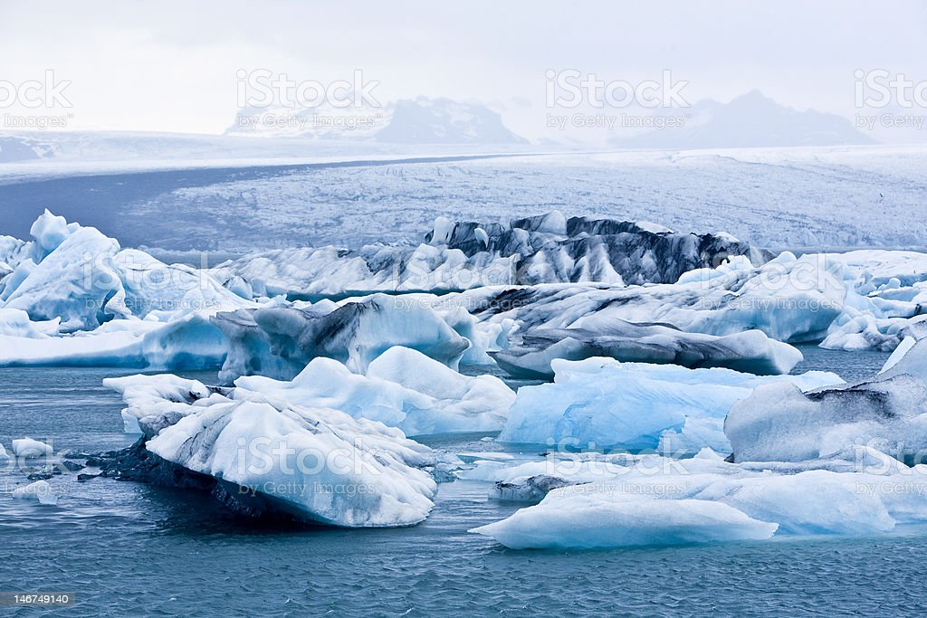 Icebergs float on Iclands River in to the See. royalty-free stock photo