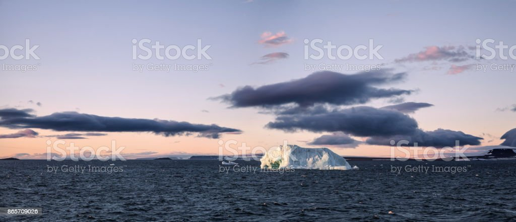Icebergs floating in Arctic stock photo