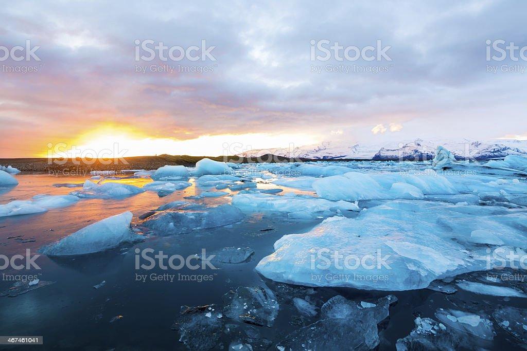 Icebergs in Jokulsarlon Lagoon Sunset stock photo