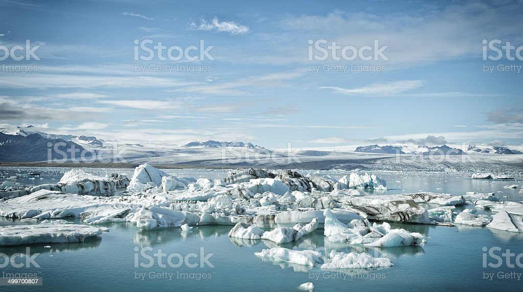 Icebergs in the Jokulsarlon glacier lagoon in Iceland stock photo
