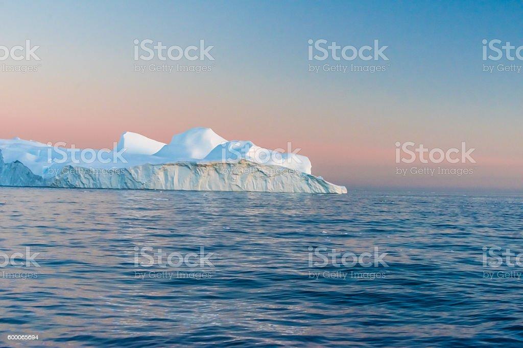 Icebergs in the midnight sun, Ilulissat, Greenland stock photo