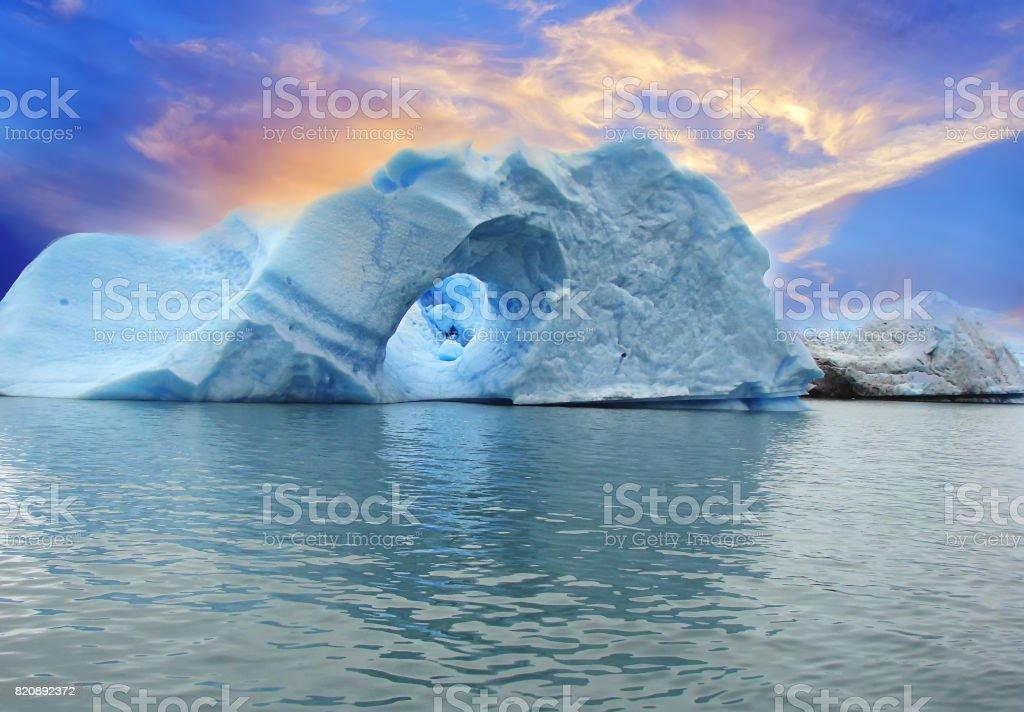Icebergs of Spegazzini glacier stock photo