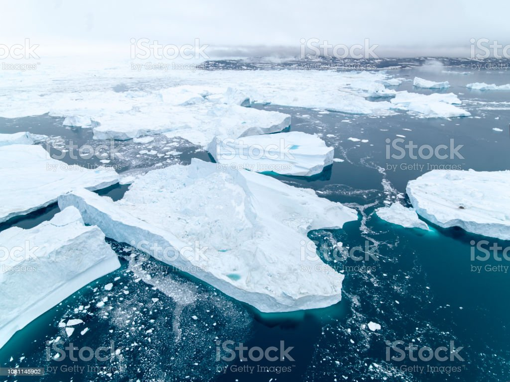 Arctic Pole in Greenland. Icebergs on arctic ocean in Ilulissat...