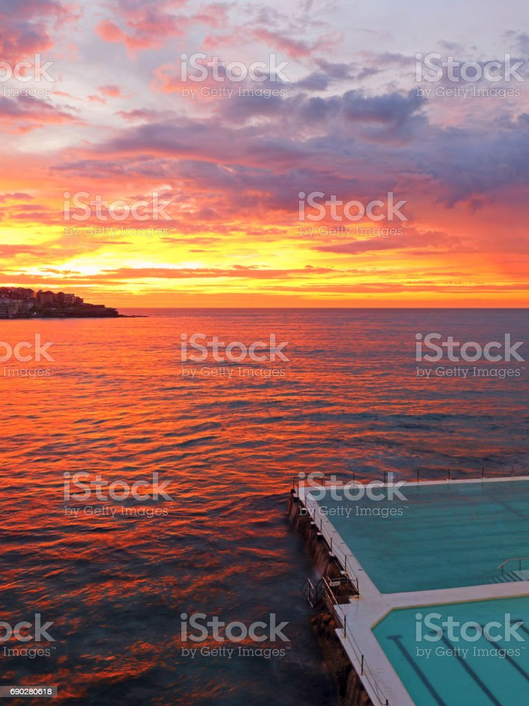 Icebergs red Sunrise stock photo