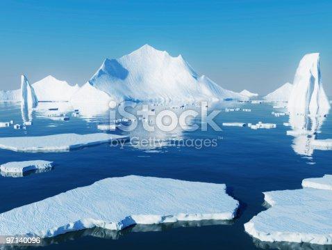 istock Icebergs reflecting into blue water 97140096