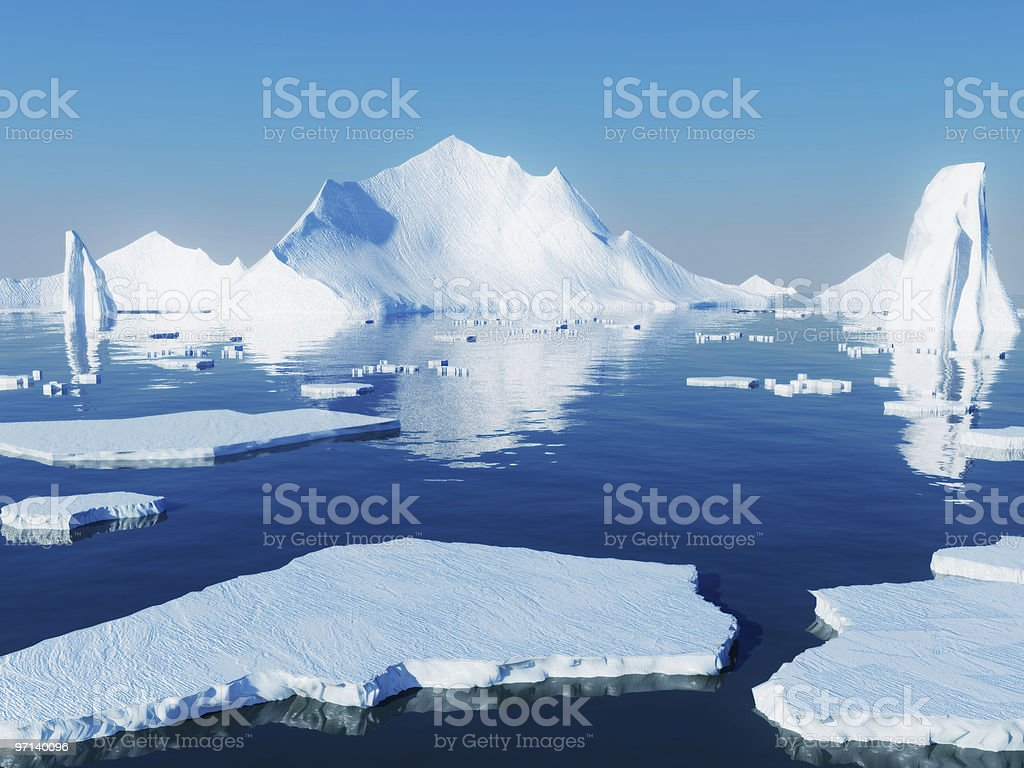 Icebergs reflecting into blue water stock photo