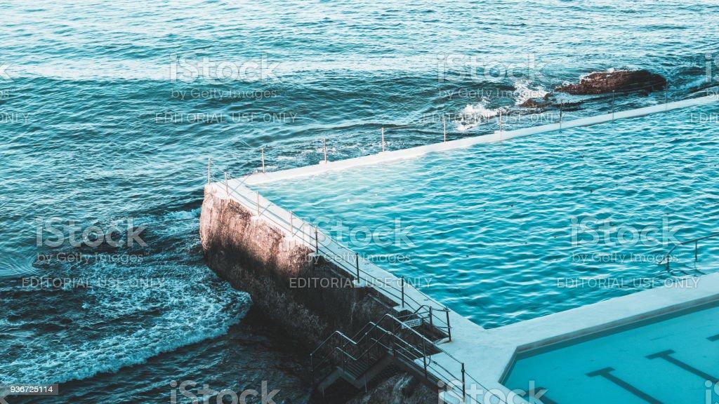 Icebergs Tidal Pool at Bondi Beach during Winter, Sydney, Australia stock photo