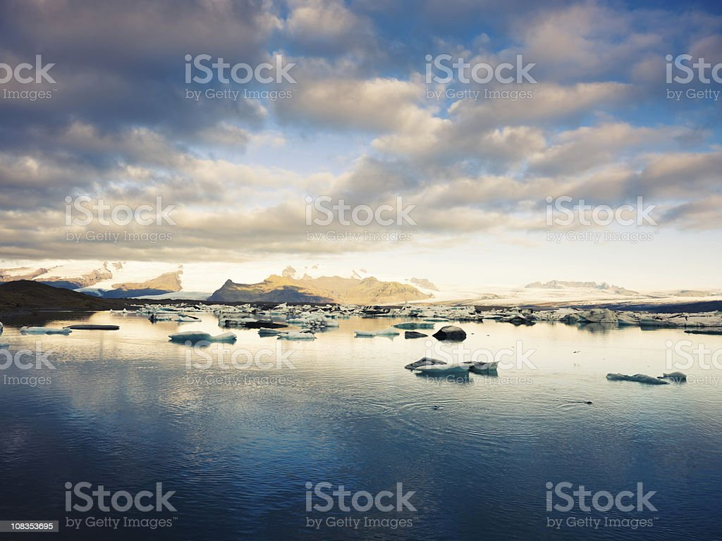 Icebergs Vatnajokull Glacier Iceland in Twilight royalty-free stock photo