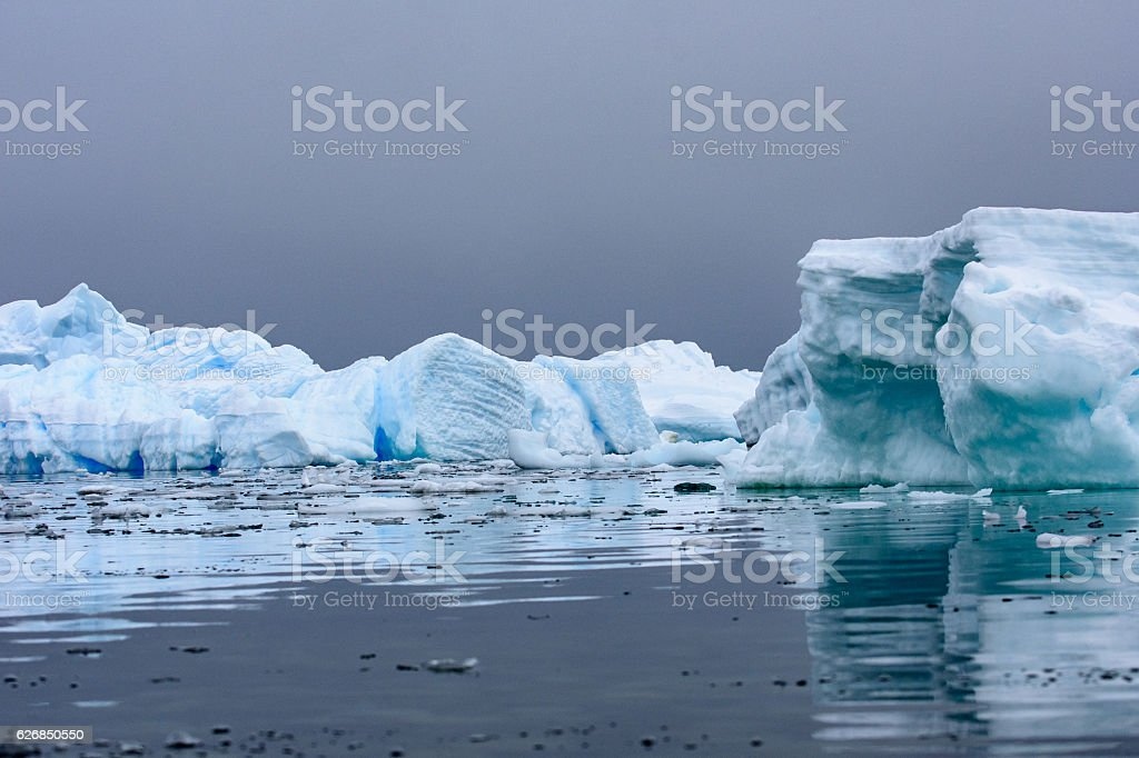 Icebergs with reflections in Antarctica stock photo