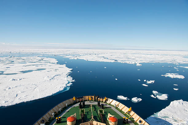 Icebreaker in the ice stock photo