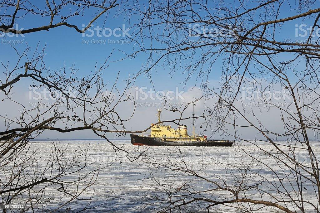 Icebreaker splits the ice royalty-free stock photo