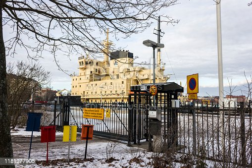 Helsinki, Finland. Voima and Urho, two State-owned Diesel-electric icebreakers of the Finnish Fleet in the island of Katajanokka