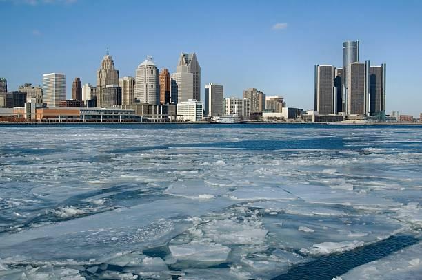 Ice-cold Detroit stock photo