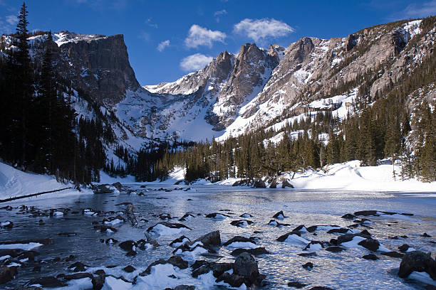 Ice-Covered Dream Lake and Hallett Peak In Winter stock photo