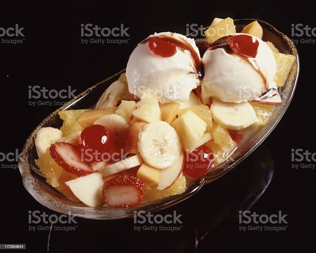 Icecream & Fruit Salad royalty-free stock photo