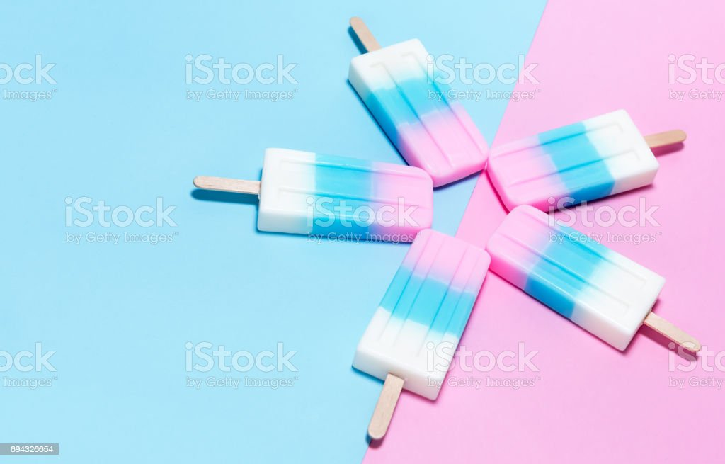 ice-cream on pink and blue background stock photo