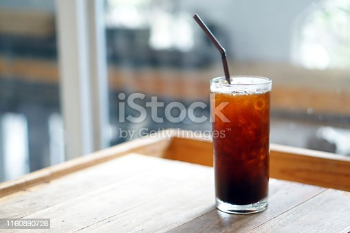 Iced americano - A glass of black coffee on table and copy space, The style of coffee prepared by brewing espresso and mixed with water, Refreshing summer drink concept.