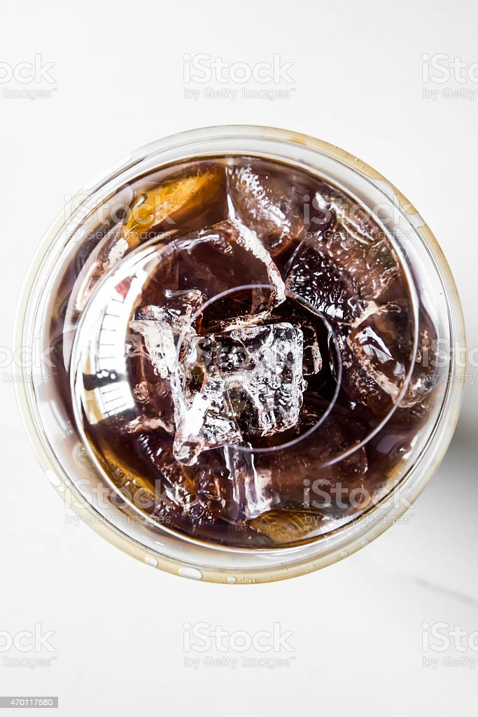 Iced americano coffee in plastic cup, top view stock photo