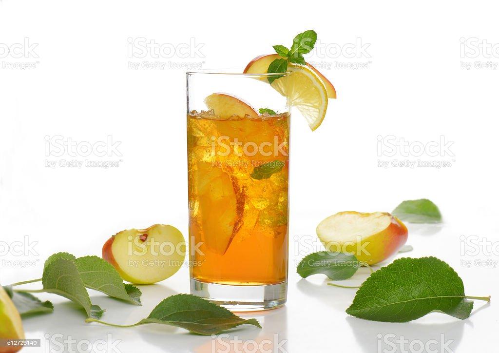 iced apple juice stock photo