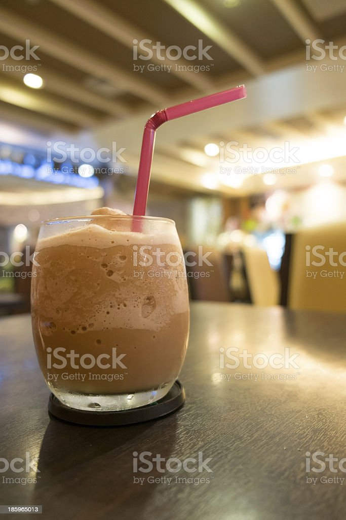 Iced blended frappe coffee in cafe royalty-free stock photo