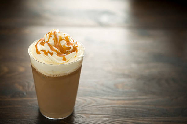 iced caramel coffee - iced coffee stock pictures, royalty-free photos & images