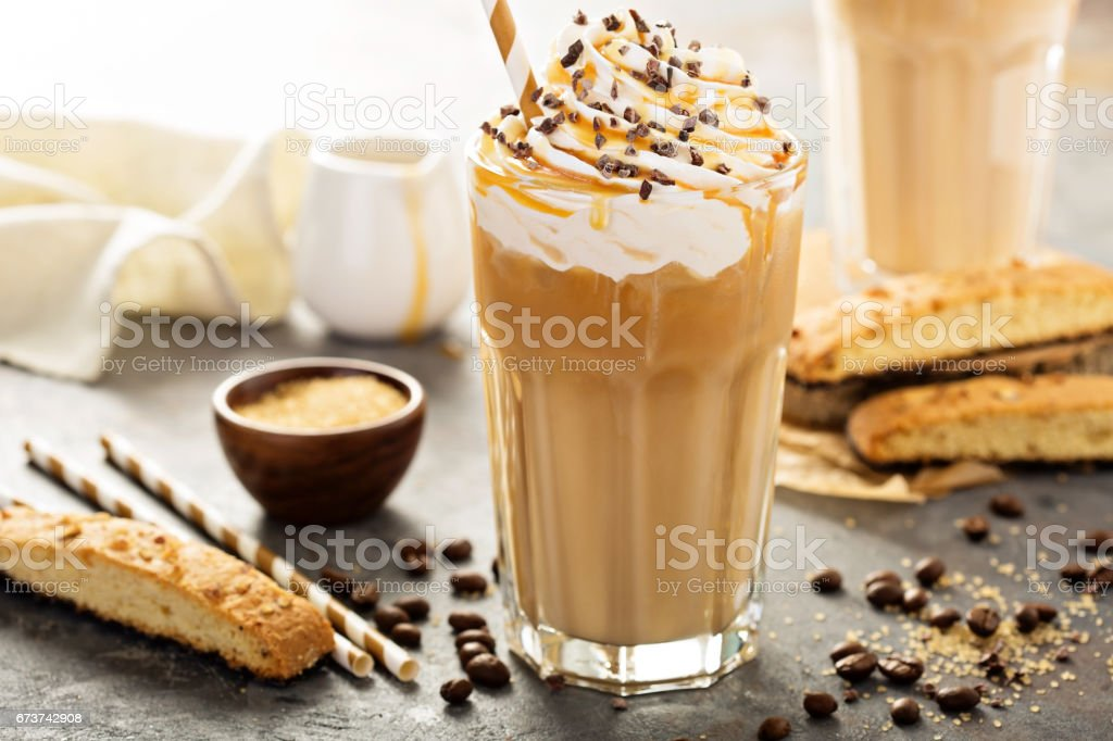 Iced caramel latte coffee in a tall glass