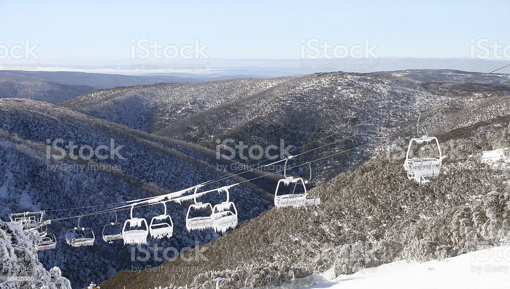 Iced chair lift in the snow royalty-free stock photo