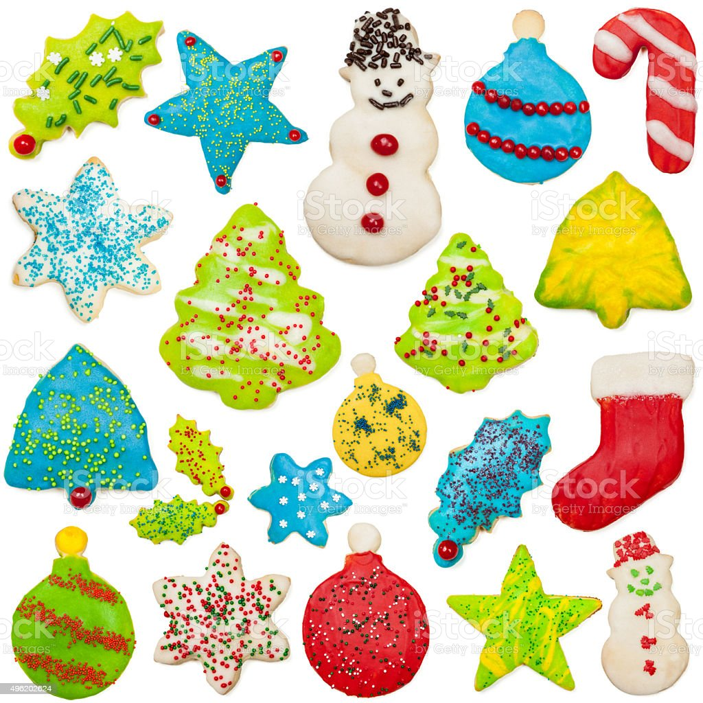 Iced Christmas Cookie Collection stock photo