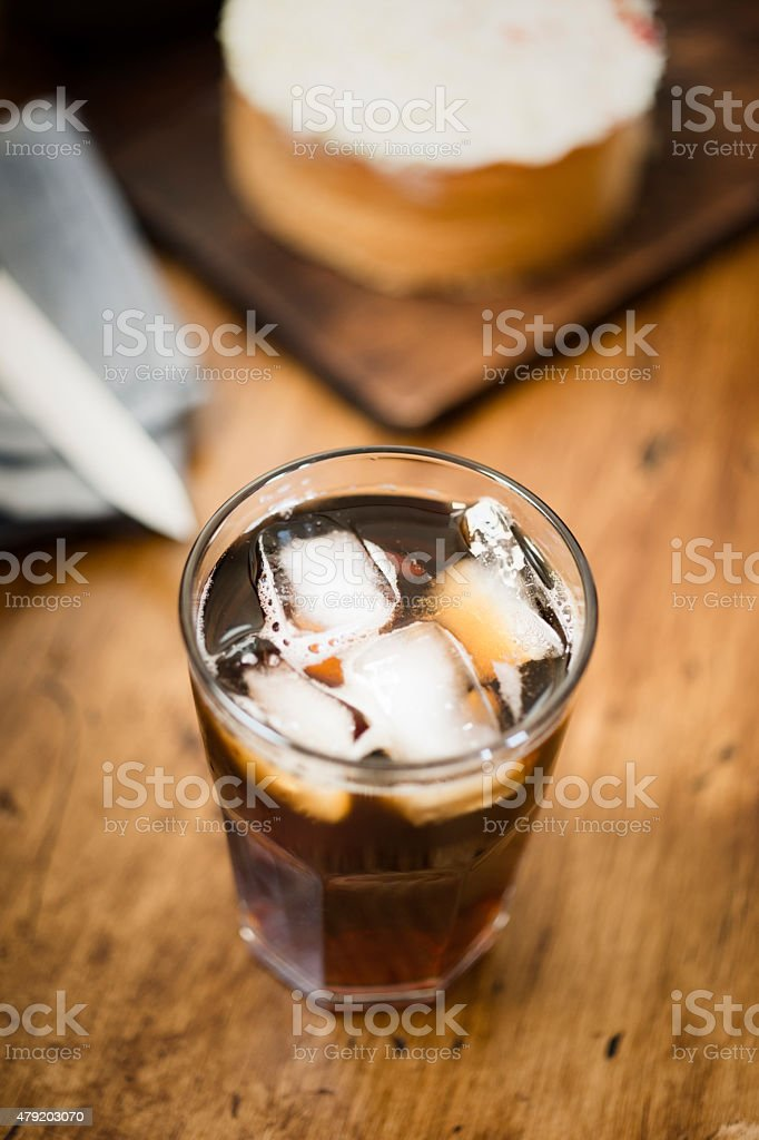 Iced Coffee and Cake. stock photo