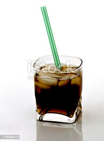 Ice (Iced) Coffee, Clear Crystal Glass with Green Straws - Isolated on White, Shot on Reflective Glass Surface - Also Black Russian Cocktail