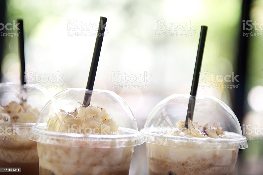 Iced Coffee Cup in Tray stock photo
