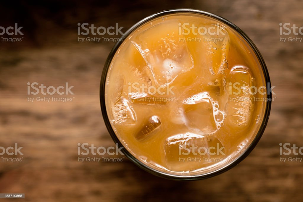 iced coffee from above stock photo