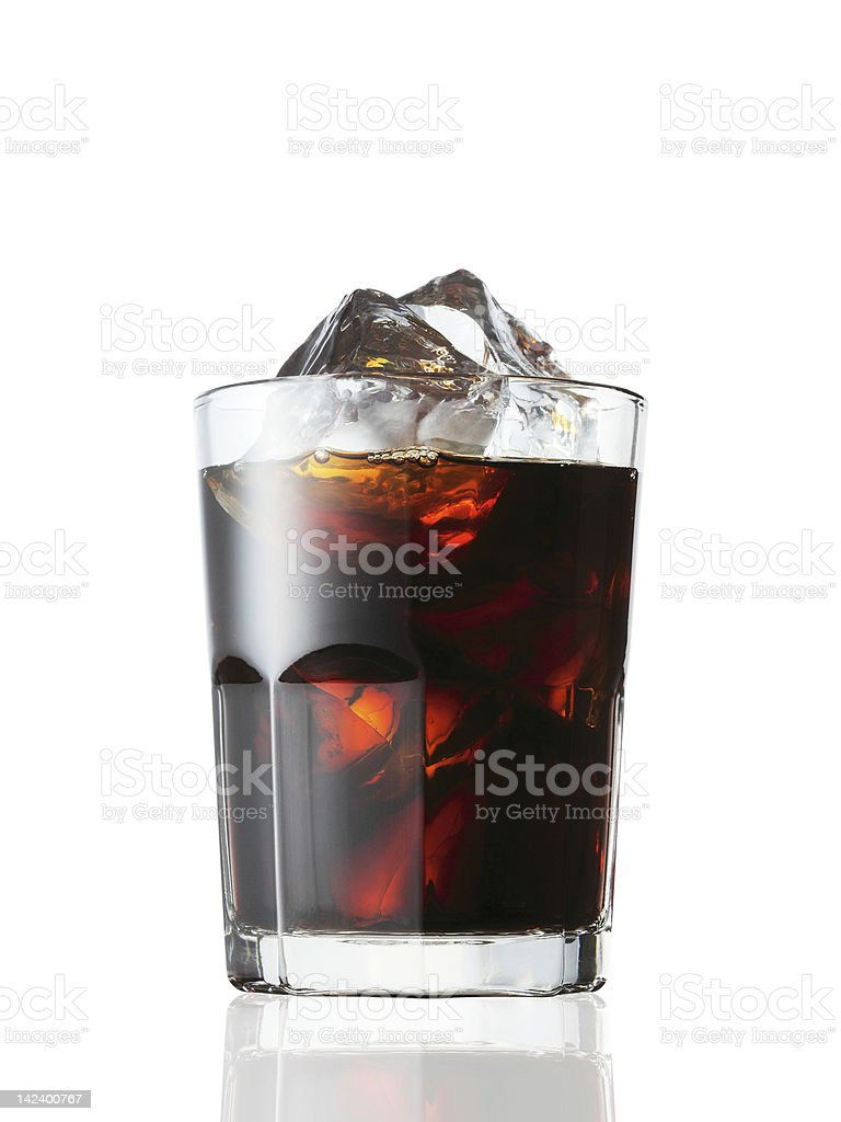 Iced coffee in glass against white background royalty-free stock photo