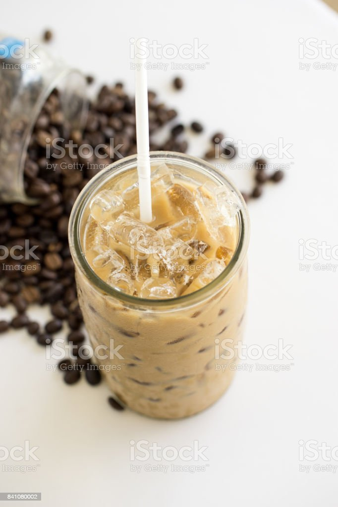 Iced coffee in high glass stock photo