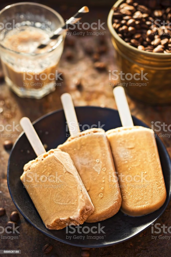 Iced coffee lollies stock photo